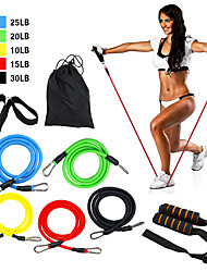 cheap -Resistance Band Set 11 pcs 5 Stackable Exercise Bands Door Anchor Legs Ankle Straps Sports TPE Pilates Exercise & Fitness Home Workout Strength Training Muscle Building Strengthens Muscle Tone For