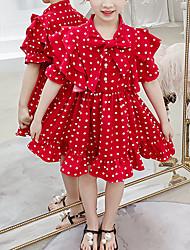 cheap -Kids Girls' Cute White Red Polka Dot Bow Short Sleeve Above Knee Dress White