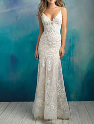 cheap -Mermaid / Trumpet V Neck Floor Length Polyester / Lace Sleeveless Country Plus Size Wedding Dresses with Draping / Appliques 2020