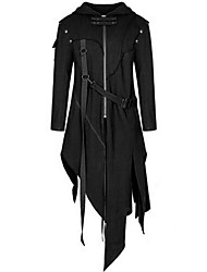 cheap -Men's Party Punk & Gothic Fall & Winter Long Trench Coat, Solid Colored Hooded Long Sleeve Polyester Black