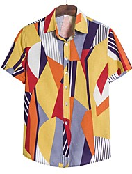 cheap -Men's Floral Geometric Black & Gray Print Shirt Tropical Party Going out Purple / Yellow / Blushing Pink / Gray / Color Block / Short Sleeve