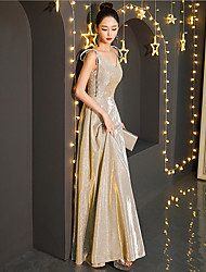 cheap -A-Line V Neck Floor Length Sequined Elegant / Glittering Prom / Formal Evening Dress with Sequin 2020