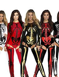 cheap -Zentai Suits Catsuit Skin Suit Skeleton / Skull Adults' Cosplay Costumes Ultra Sexy Men's Women's Black / Golden / White Skull Halloween Carnival Masquerade / Leotard / Onesie