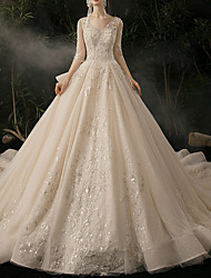 cheap -Ball Gown V Neck Watteau Train Lace / Tulle Half Sleeve Formal Plus Size / Elegant / Illusion Sleeve Wedding Dresses with Lace / Lace Insert 2020