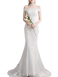 cheap -Mermaid / Trumpet Wedding Dresses Off Shoulder Sweep / Brush Train Lace Tulle Sleeveless Country Plus Size Backless with Lace Insert Appliques 2020