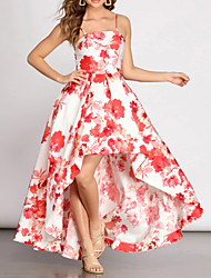 cheap -A-Line Floral White Holiday Prom Dress Jewel Neck Sleeveless Asymmetrical Nylon Polyester with Pattern / Print 2020