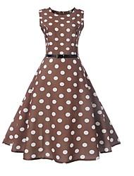 cheap -Women's Brown Dress A Line Polka Dot S M