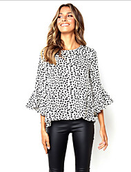 cheap -Women's Polka Dot Blouse Daily White / Black / Orange