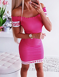 cheap -Women's Mini Red Gray Dress Bodycon Sheath Solid Color Off Shoulder S M Slim