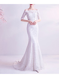 cheap -Mermaid / Trumpet Wedding Dresses Off Shoulder Court Train Chiffon Tulle Half Sleeve Formal Illusion Detail Plus Size with Draping Lace Insert Appliques 2020