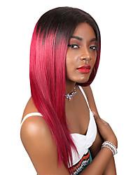 Недорогие -человеческие волосы Remy Необработанные девственные волосы Лента спереди Парик Свободная часть стиль Бразильские волосы Перуанские волосы Прямой Красный Парик 180% Плотность волос / Длинные