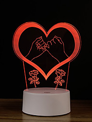 Недорогие -ручка обещание творческий 3d ночь свет подарок на день рождения сенсорный спальня usb питание светодиодный красочный настольная лампа