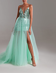 cheap -A-Line Sexy Turquoise / Teal Party Wear Formal Evening Dress Illusion Neck Sleeveless Sweep / Brush Train Tulle with Sequin Split 2020