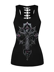 cheap -Women's Daily Sports Basic / Punk & Gothic Tank Top - Machine Print Black