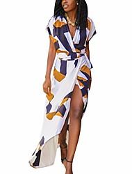 cheap -Women's Swing Dress - Color Block Yellow Brown S M L XL