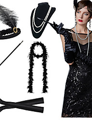 cheap -The Great Gatsby Charleston 1920s Roaring 20s Costume Accessory Sets Gloves Necklace Flapper Headband Women's Feather Costume Black / White / Red Vintage Cosplay Party Prom / Scarf / Cigarette Stick