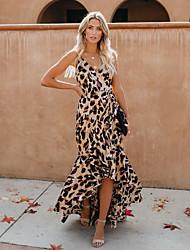 cheap -Women's Maxi Brown Dress A Line Leopard Strap S M