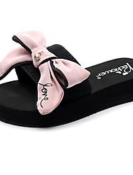 cheap -Women's Slippers & Flip-Flops Flat Heel Open Toe Bowknot / Sparkling Glitter Polyester Casual / Preppy Walking Shoes Summer Black / Navy Blue / Pink
