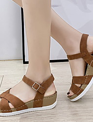 cheap -Women's Sandals Wedge Heel Round Toe PU Summer Black / Brown / Camel