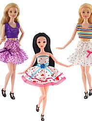 Недорогие -Аксессуары для кукол Одежда для кукол Платье куклы Простой Творчество Kawaii Юбки Ткань 3 pcs Детские Все Игрушки Подарок
