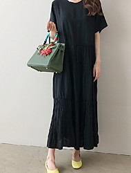 Недорогие -Жен. Туника Платье - Короткие рукава Сплошной цвет Черный Хаки M L XL XXL