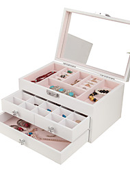 cheap -Square Jewelry Box - Wooden White, Blue, Pink # # # / Women's