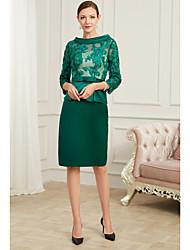 cheap -Sheath / Column Jewel Neck Knee Length Chiffon Peplum / Green Cocktail Party / Wedding Guest Dress with Appliques / Bow(s) / Split 2020