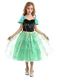 cheap -Princess Fairytale Anna Cosplay Costume Party Costume Flower Girl Dress Girls' Movie Cosplay A-Line Slip Vacation Dress Green Dress Christmas Halloween Children's Day Chiffon Terylene Cotton