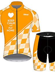 Недорогие -21Grams Муж. С короткими рукавами Велокофты и велошорты Оранжевый + белый Клетки С сердцем Велоспорт Наборы одежды Устойчивость к УФ Дышащий 3D-панель Быстровысыхающий Впитывает пот и влагу