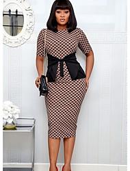 cheap -Women's Brown Dress Sheath Print S M