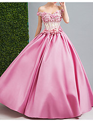 cheap -Ball Gown Wedding Dresses Strapless Floor Length Chiffon Tulle Cap Sleeve Formal Wedding Dress in Color Illusion Detail Plus Size with Draping Lace Insert Appliques 2020