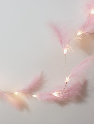 cheap -2m LED Feather Copper Wire Light String Turkey Feather String Light Lantern Ins Girl Heart Battery Light String Decoration