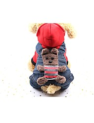 cheap -Dog Coat Jumpsuit Jacket Winter Dog Clothes Yellow Red Costume Baby Small Dog Cotton Jeans New Year's XS S M L XL