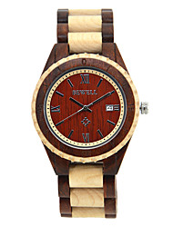 cheap -Unisex Dress Watch Quartz Fashion Calendar / date / day Analog Black Yellow Coffee / One Year / Wood / One Year