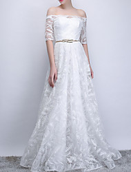 cheap -A-Line Elegant White Prom Formal Evening Dress Off Shoulder Half Sleeve Floor Length Polyester with Sash / Ribbon Appliques 2020