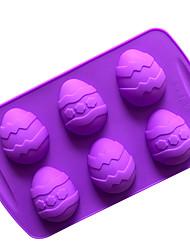 Недорогие -6 полостей пасхальные яйца силиконовые формы выпечки посуда шоколадные формы