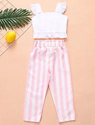 cheap -Kids Girls' Basic Striped Sleeveless Clothing Set White