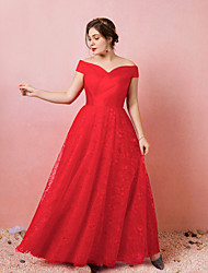 cheap -A-Line Plus Size Red Engagement Prom Dress Off Shoulder Short Sleeve Floor Length Lace Satin Tulle with Criss Cross Pleats 2020