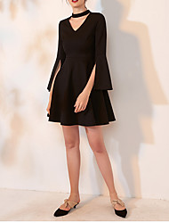 cheap -A-Line Elegant Black Homecoming Cocktail Party Dress V Neck 3/4 Length Sleeve Short / Mini Spandex with Split 2020