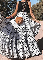cheap -Women's Vacation / Holiday Beach Wear / Boho Maxi Swing Skirts - Polka Dot Polka Dots White Purple Yellow S M L