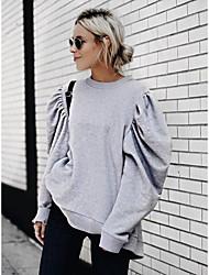 Недорогие -Жен. Толстовка Однотонный Классический Серый S M L XL