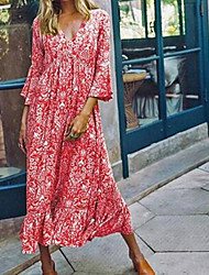 cheap -Women's Maxi Red Green Dress Boho Spring Vacation Beach A Line Swing Print V Neck Floral S M Loose
