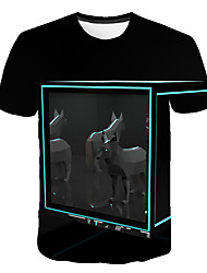 cheap -Men's Daily Sports Street chic / Exaggerated T-shirt - Color Block / 3D / Animal Dog, Print Black
