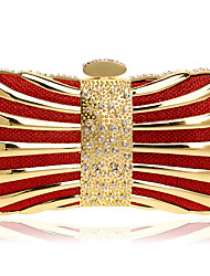 cheap -Women's Bags Polyester Alloy Evening Bag Crystals Chain Color Block Party Wedding Event / Party Evening Bag Wedding Bags Handbags Black Blue Red Gold