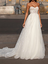 cheap -A-Line Strapless Court Train Chiffon / Tulle Sleeveless Romantic Wedding Dresses with Lace / Appliques 2020