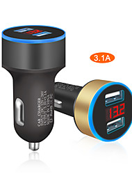 Недорогие -Автомобильное зарядное устройство 5 В 3.1a со светодиодным дисплеем универсальный двойной usb автомобильный прикуриватель для xiaomi samsung s8 iphone x 8 plus планшет и т. д.
