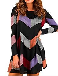 cheap -Women's Wine Black Dress A Line Geometric M L