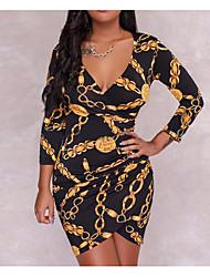 cheap -Women's Bodycon Dress - Leopard Black S M L XL
