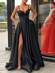 cheap -A-Line V Neck Court Train Polyester Celebrity Style / Black Prom / Formal Evening Dress with Split 2020