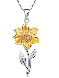 cheap -Women's Pendant Necklace Classic Flower Fashion Gold Plated Gold Brown 45+5 cm Necklace Jewelry For